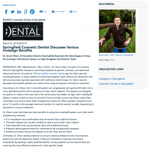 cosmetic dentist in springfield, invisalign, dr. olson